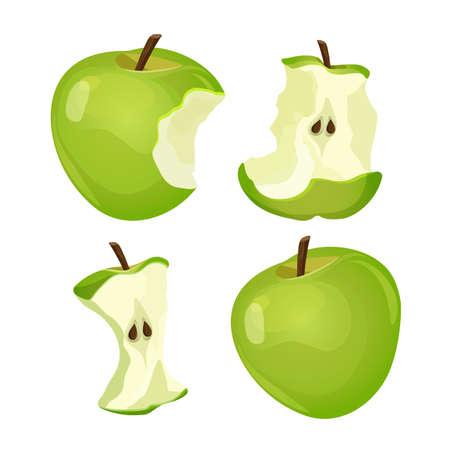 Stages of whole and bitten apple isolated on white background
