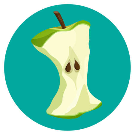 Bite apple core web button isolated on blue background
