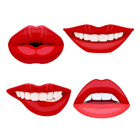 plump lips: Set of bite lips with dental smile, sexy ideal teeth in open mouth.