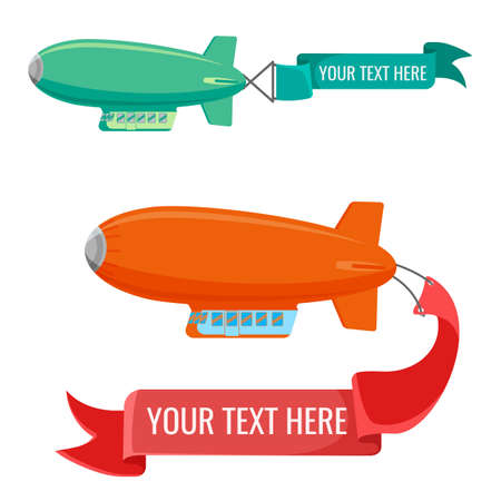 blimp: Set of blimps with advertising banners vector illustration isolated on white.