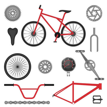 freewheel: Parts of BMX bike off-road sport bicycle used for racing and stunt riding. Vector illustration of details for motocross vehicle Illustration