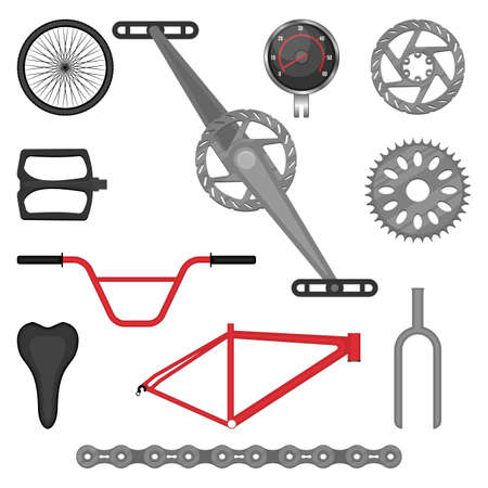 freewheel: Set of parts for BMX bike off-road sport bicycle vector illustration. Details for motocross vehicle isolated on white background Illustration