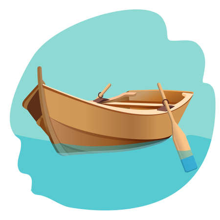 rowboat: Wooden boat with oars vector illustration isolated on white.