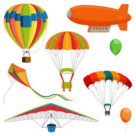 예 스 러운, 패러 글라이더와 연, 공기 풍선 및 낙하산 현실적인 벡터 집합