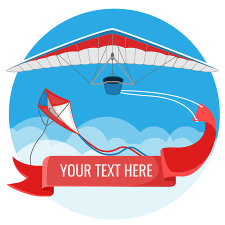 Paraglider and kite with red advertising banner flying in blue sky background