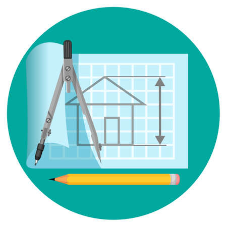 Blueprint icon with project of house, compasses and pencil Illustration