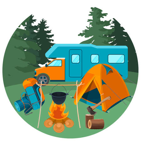 hiking: Caravan in forest with picnic equipment. Accessories for camping rest Illustration