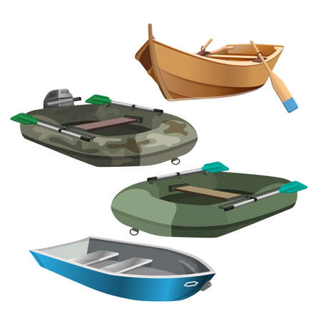 Set of boats realistic vector illustration isolated on white