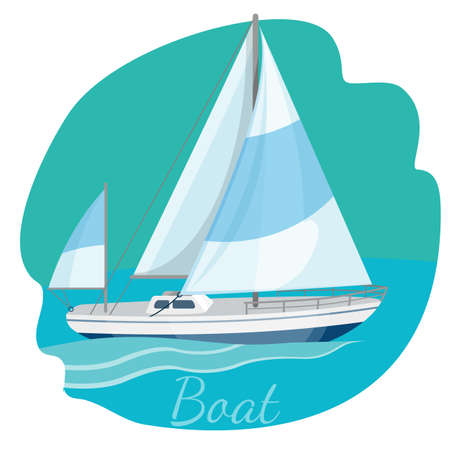 One-decked boat with sails vector illustration isolated on blue Çizim