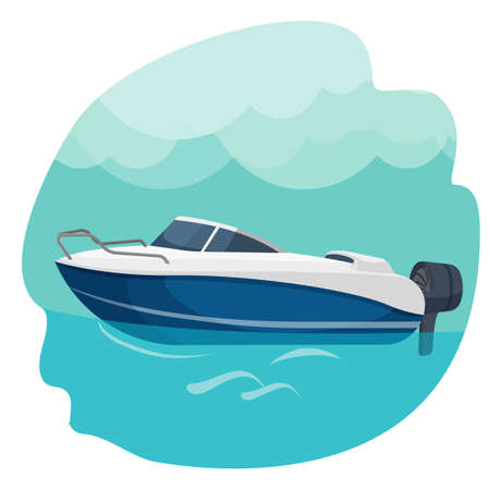 High speed motor boat sailing in sea vector illustration isolated Vetores