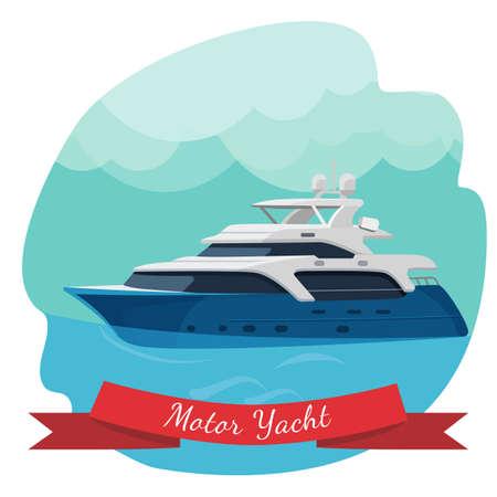 Luxury two-deck motor yacht sailing in ocean vector illustration