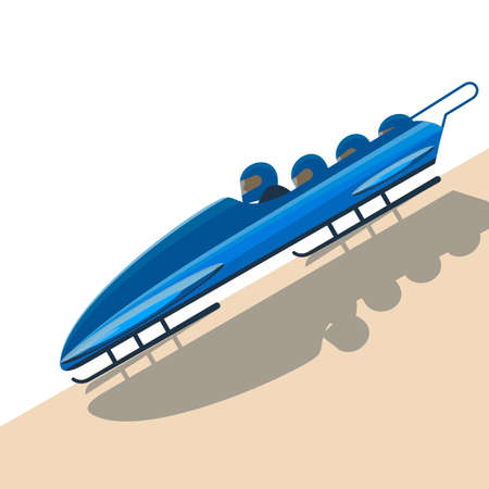bob: People moving down on bobsled on high speed vector illustration.