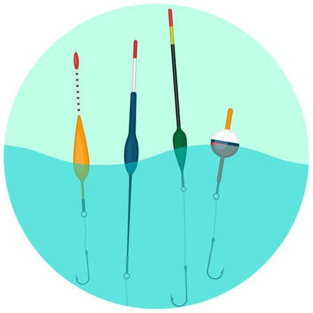 bobber: Set of colorful bobbers swimming in water in round button. Illustration