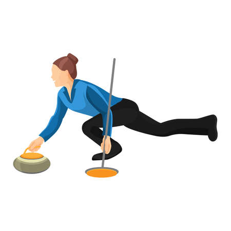 curler: Woman play curling vector illustration isolated on white background.