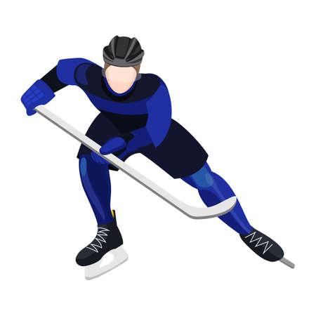 puck: Athlete with ice-hockey stick playing hockey vector illustration Illustration