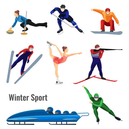 bobsled: Set of winter sport activities vector illustration isolated on white