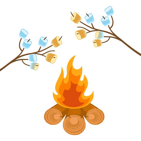 Marshmallow on tree branches cooked on bonfire vector illustration Illustration