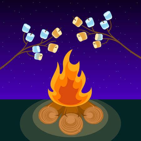 Marshmallow on skewers cooked on bonfire at night vector illustration Illustration