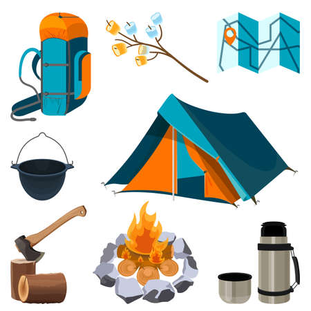 mountaineering: Set of camping elements isolated on white. Vector illustration