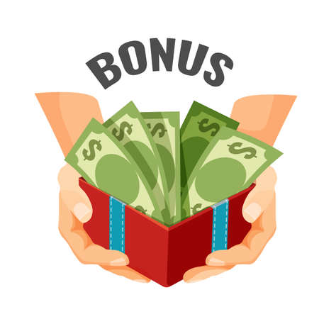 Giving money in open present box with dollar banknotes, bonus