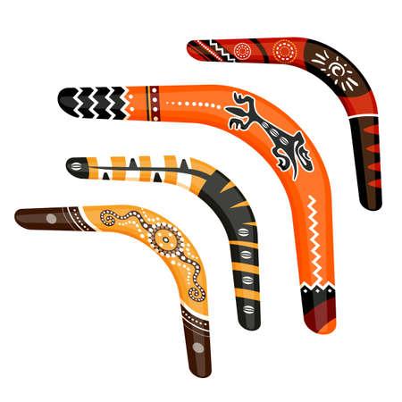 Set of painted traditional australian boomerang tools vector illustration