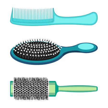 Tipi di pettini di capelli e spazzole da parrucchiere illustrazione vettoriale isolato