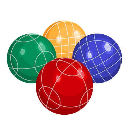 金属またはプラスチックのベクトルのカラフルなボッチ ボール