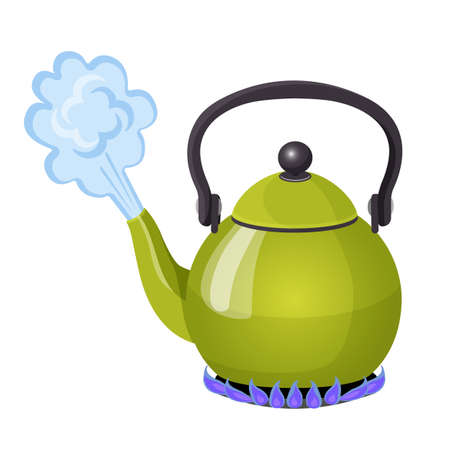 Boiling water in aluminium kettle on gas flame realistic vector illustration