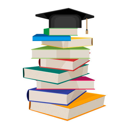 Pile of books with square academic hat on top vector illustration