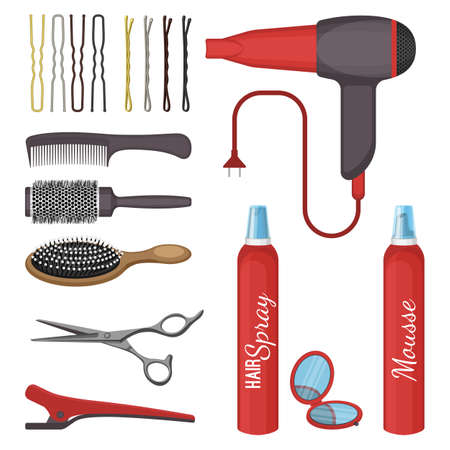 hairdress: Set of hairdressing tools vector illustration isolated on white background.