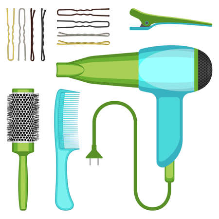 bobby pin: Set of hairdressing tools vector illustration isolated on white background.
