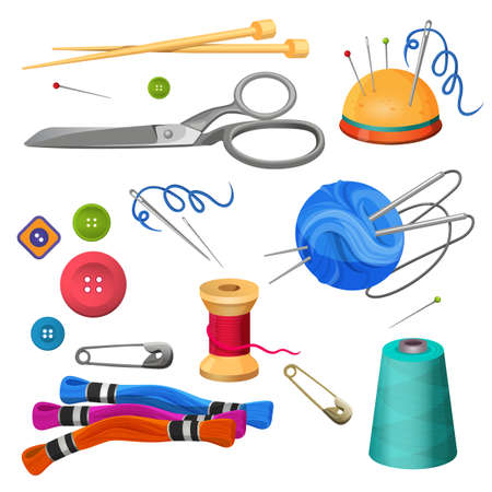 Set of accessories for sewing and handicraft. Colorful bobbins