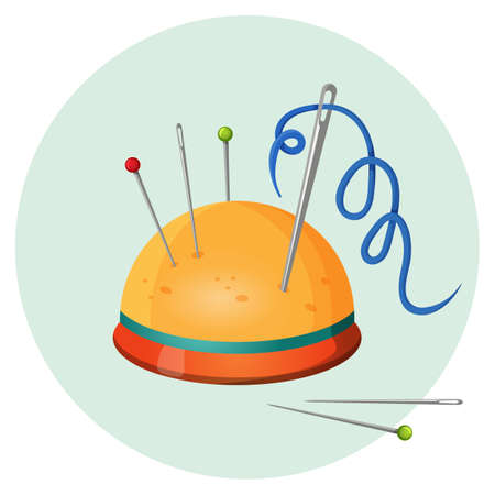 Pincushion with needles and pins or thimbles vector illustration isolated Illustration