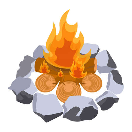 outdoor fireplace: Firewood surrounded by stones vector illustration isolated on white. Illustration