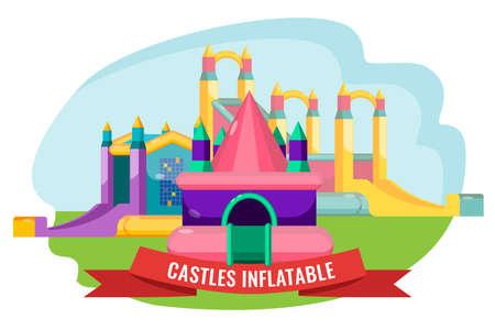 Astles aufblasbare Sammlung für Kinder Sommer Rest isoliert auf weiß. Vektor-Poster der kindlichen Stadt mit bouncy Attraktionen Standard-Bild - 80204727