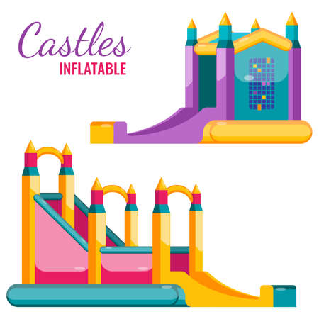 Two colorful castles inflatable isolated on white vector flat poster. Bouncy attractions for children amusement, jumping and sliding Stock Vector - 80204728