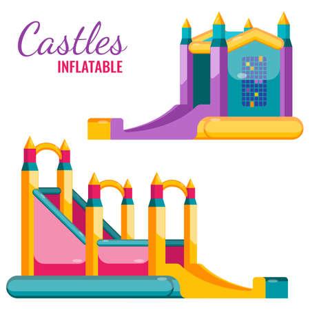 Zwei bunte Burgen aufblasbare isoliert auf weiß Vektor flache Poster. Bouncy Attraktionen für Kinder amüsiert, springen und gleiten Standard-Bild - 80204728