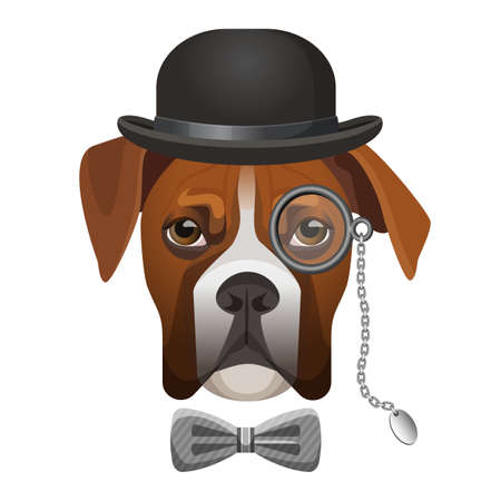 lurcher: Boxer dog in bowler hat, bow and magnifier glass on eye portrait vector illustration isolated on white. Cartoon character dog-sniffer sleuthhound