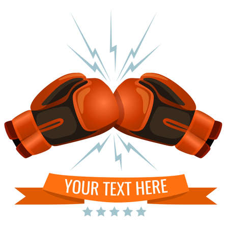 Boxing gloves hitting one another logotype design, add your text here. Cushioned mittens that fighters wear on hands during boxing matches and practices. Illustration