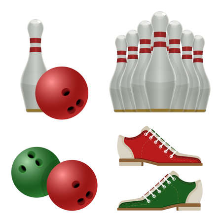 Accessories for bowling play, white skittles with red stripe, sneakers shoes and ball sporting equipment used to hit pins vector illustration