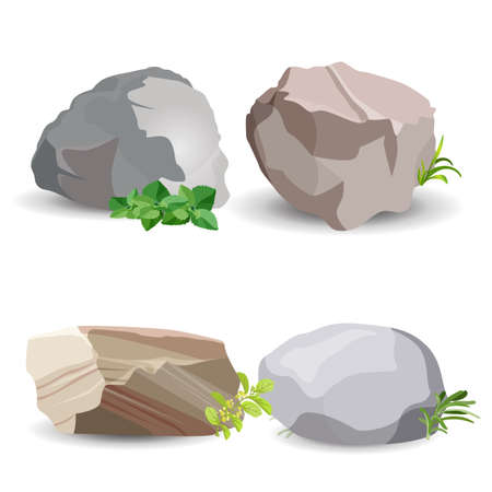 Four boulder stones with green grass and leaves isolated on white. Vector colorful poster of close up earth minerals big examples. Иллюстрация