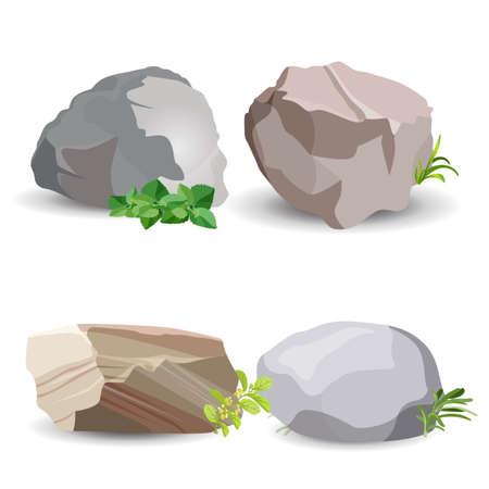 Vier keistenen met groen gras en bladeren die op wit worden geïsoleerd. Vector kleurrijke poster van close-up earth minerals grote voorbeelden.