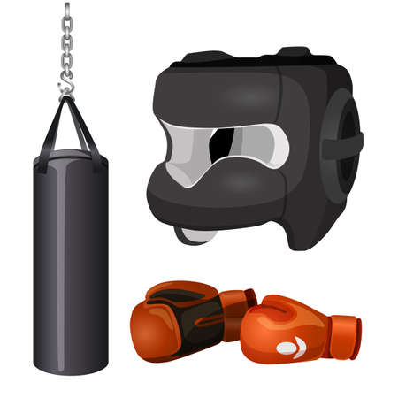 Boxing equipment punchbag on chain, protective headgear mask, leather gloves vector illustration isolated on white background