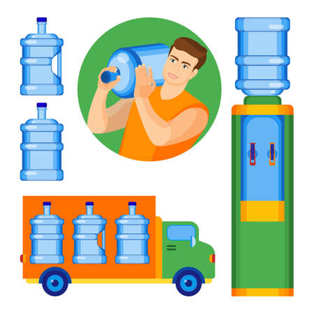 Bottled water delivery service poster with man delivering bottle to office, car transporting clean aqua to consumers and cooler with hot and cold liquid