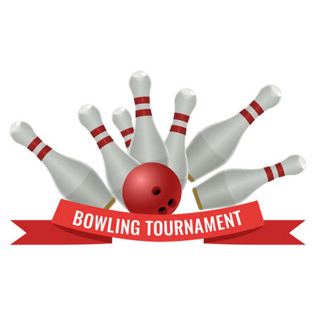 Bowling tournament logo design of strike made by ten-pin ball with three drilled holes hits pins vector illustration isolated on white