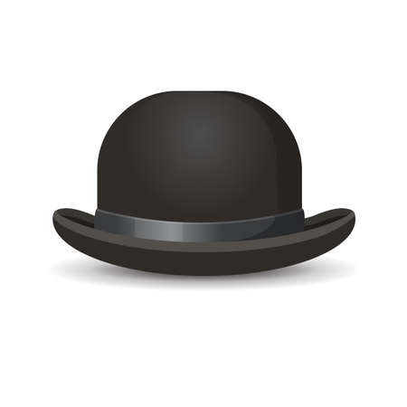 black men: Bowler hat in black color isolated on white. Vector illustration of one decorative element for men wearing on head with formal suits.