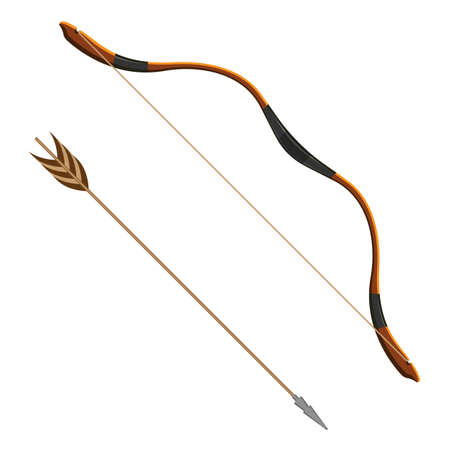 Bow and arrow realistic vector illustration of projectile weapon system archery. Flexible arc that shoots aerodynamic projectiles called arrows Illustration