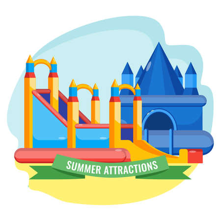 Summer park inflated attractions collection in shape of castle colorful vector poster. Bouncy equipments for childrens amusement.