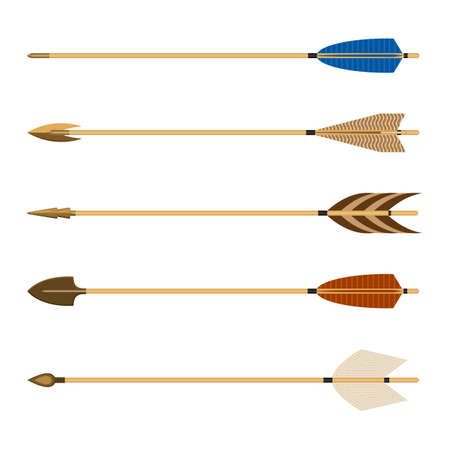 front end: Archery arrows set vector illustration isolated on white background. Arrow consists of shaft with arrowhead attached to front end, with fletchings and nock at the other.