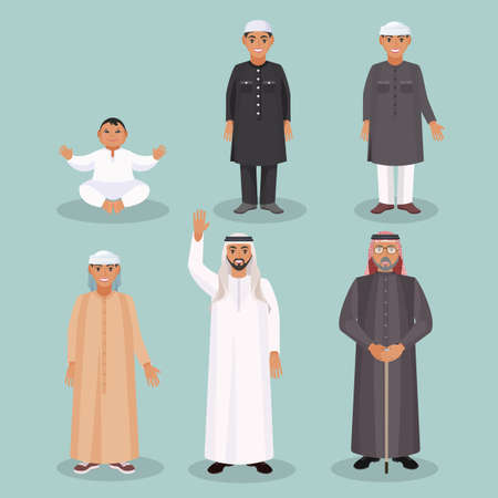 Arabic men generations from kid to old person Illustration